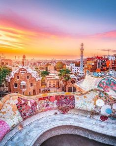 : : Parc Guell Barcelona Spain Travel photography by country Beautiful Places To Travel, Wonderful Places, Beautiful Live, Beautiful Sunrise, Beautiful Morning, Natur Wallpaper, Barcelona Spain Travel, Barcelona City, Barcelona Park Guell