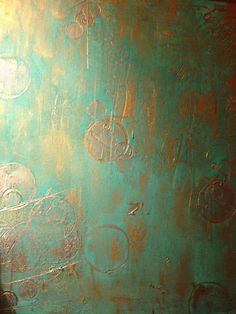 Blue Gold and Silver Textured Painting