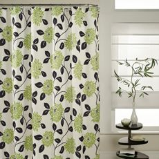 green flowers black leaves shower curtain - bed bath and beyond