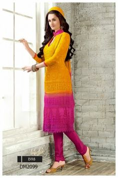 Color : Yellow,Pink Collection : DM2099 Top Fabric : Chiffon Bottom Fabric : Santoon Dupatta Fabric : Nazneen Work : Embroidary Weight : 1 k.g Style : Dress Material Occasion : Casual wear Season : Any Time to Ship : Ready To Ship Wash Care : Recommends Dry Wash Only
