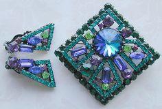 Juliana D Geometric Art Deco Design Rhinestone Pin and Earrings Book Piece