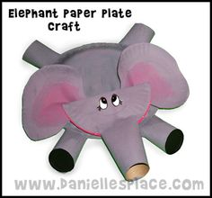 paper plates ad tp rolls combine to make the cutest little elephant craft ever
