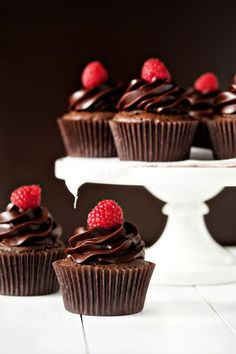 Rich chocolate cupcakes topped with a Chambord infused chocolate ganache frosting and finished with a fresh raspberry.