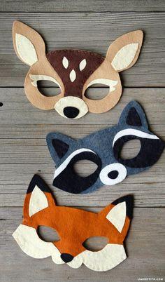 fabric crafts for kids to make Filz Waldmasken - Baby deko - Filz Waldmasken - Kids Crafts, Diy And Crafts, Craft Projects, Baby Crafts, Felt Projects, Craft Ideas, Felt Templates, Animal Mask Templates, Felt Diy