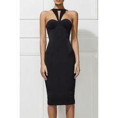 Stylish Halter Backless Solid Color Back Slit Women's Dress - BLACK S