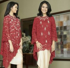 Our classic is making a comeback! In various silhouettes and cuts to make it look more modern and fashionable. This rich blood red is the perfect holiday season color! Kebaya Lace, Batik Kebaya, Kebaya Dress, Gaun Dress, Dress Brokat, Kebaya Brokat, Blouse Batik, Batik Dress, Model Kebaya Modern