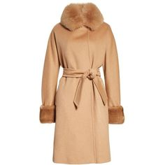 Women's Max Mara Camel Hair Coat With Genuine Fox Fur & Genuine Mink... (16.930 RON) ❤ liked on Polyvore featuring outerwear, coats, camel hair coat, 3/4 sleeve coat, maxmara coat, belted coats and maxmara