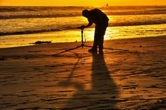 Photographer on the Beach at Sunset in Oceanside- May 1, 2013 by Rich Cruse