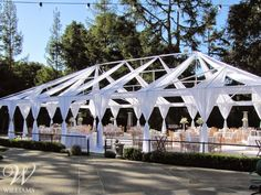 Williams Party Rentals created a one of a kind 70' x 40' Open Air Tent for Nina and Felix's unforgettable wedding celebration. #WilliamsSJ #Wedding #Tent #Canopy