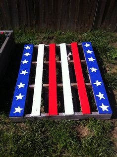 Pallet garden painted by my daughter. Awesome!
