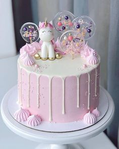 What is a Funfetti Cake? It's a moist vanilla cake with extra sprinkles and topped with pink ganache Beautiful Birthday Cakes, Beautiful Cakes, Amazing Cakes, Lollipop Cake, Cupcake Cakes, Pretty Cakes, Cute Cakes, Baby Birthday Cakes, Unicorn Birthday