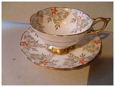 Royal Stafford 'Jessamine' Gold Deco Teacup and Saucer Fancy Tea Cups, Royal Stafford, Espresso Cups, Vintage China, Deep Purple, Cup And Saucer, Teacup, Pottery, Deco