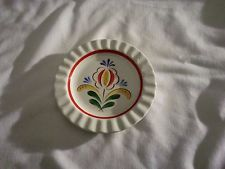 ARABIA FINLAND Round Mini Ashtray RED YELLOW GREEN Floral Handpainted