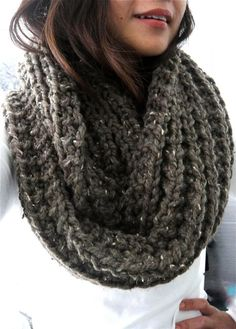 Cameron XL Chunky Infinity Ribbed Scarf Cowl Barley by LuluLuvs, $70.00