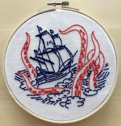 'Release the Kraken' Sea Monster Embroidery Kit by HookLineTinker on Etsy | Modern Embroidery Kits for Beginners