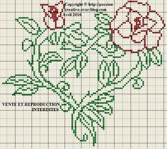 Grille gratuite point de croix : Coeur des roses version 2