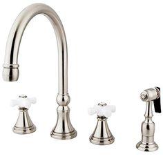 Kingston Brass KS2798PXBS Governor Deck Mount Kitchen Faucet with Brass Sprayer, 8-1/4-Inch, Satin Nickel