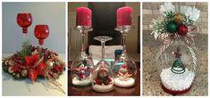 Crea los mejores adornos navideños utilizando copas de vidrio – Tutoriales Mas Ideas Christmas Nativity, Christmas Wreaths, Christmas Crafts, Diy Christmas Decorations Easy, Table Decorations, Holiday Decor, Christmas Projects, Ladder Decor, Diy And Crafts