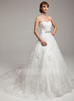 Ball-Gown Sweetheart Chapel Train Tulle Charmeuse Wedding Dress With Lace Beading Bow(s) (002017538) - JJsHouse