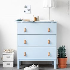 Tarva is one of the most popular dressers by Ikea, and I'm sure that most of you have one or more at home. But Ikea is known for making plain . Hack Commode Ikea, Ikea Tarva Dresser, Dresser Knobs, Nursery Dresser, Malm Drawers, Blue Drawers, Diy Dressers, Chest Drawers, Dresser Ideas