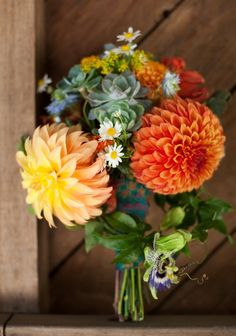 love the combination; mums; daisys; succulents; lilikoi (passionflower); gorgeous! or are those Dahlias?