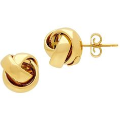 Lord & Taylor Goldtone Knot Stud Earrings ($1,550) ❤ liked on Polyvore featuring jewelry, earrings, gold, gold colored jewelry, 14k earrings, gold tone earrings, 14k jewelry and knot stud earrings