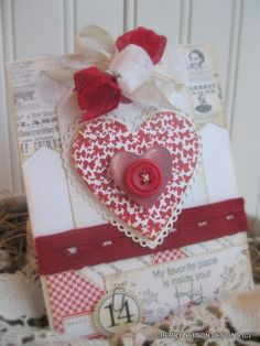 vintage style valentine card- my favorite place is inside your hug