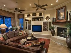 Decorating: traditional    Love big living rooms that can sit a lot of people. We love to have people at our house. Love this style!!