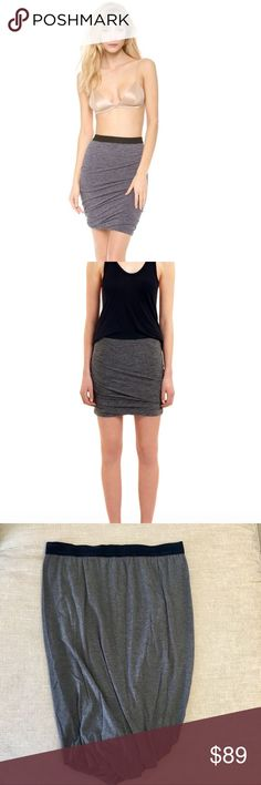 T by Alexander Wang Velvet Trimmed Jersey Skirt Jersey twist skirt in dark bluish grey with dark blue velvet waist band. Worn a few times and in excellent condition. Size L. T by Alexander Wang Skirts Mini