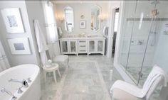 """sarah's house master bathroom - ming green 12x12 floor tile. Antique mirror insert in to shaker door front panel. Tile border in shower is 60"""" high from floor,"""