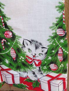 Vintage Mid Century Christmas Xmas Half Apron by TheVintageMoment