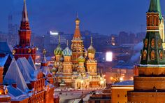 """Views of Moscow from the roof of the Ritz-Carlton. Ritz-Carlton - is an international chain of hotels Class """"luxury. Vientiane, Famous Landmarks, Famous Places, Moscow Cathedral, Place Rouge, St Basils Cathedral, Moscow Kremlin, Temple City, St Basil's"""