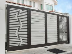 Delux® is a leader in designing and supplying gates for homes. Including aluminium gate / autogate, trackless folding gate, home gate & autogate design. Home Gate Design, House Main Gates Design, Main Entrance Door Design, Steel Gate Design, Front Gate Design, Entrance Gates, House Entrance, Gate Designs Modern, Narrow House Designs