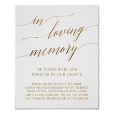 Elegant Gold Calligraphy In Loving Memory Sign - wedding decor marriage design diy cyo party idea Gold Calligraphy, Wedding Calligraphy, Wedding Ceremony Signs, Wedding Reception, Wedding Programs, Elegant Wedding, Fall Wedding, Wedding Ideas, Wedding Fun