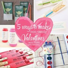 5 Ways to Make Non-Candy Valentines (with FREE Printables! Valentines Day Party, Valentine Day Crafts, Be My Valentine, Valentine Ideas, Holiday Crafts, Easy Diy Crafts, Crafts For Kids, Make Happy, Valentine's Day Diy