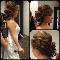Bridal updo to the side--great for the reception so you can part-ay with no worries peinados de novia Bridesmaid Hair, Prom Hair, Fancy Hairstyles, Wedding Hairstyles, Wedding Hair And Makeup, Hair Makeup, Hair Wedding, Homecoming Hairstyles, Bridal Updo