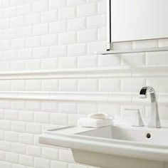 This photo features Profiles™ 3 x 6 Bevel Tile and 2 x 6 Chair Rail in Ice White. Also available in other assorted sizes and trim.