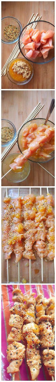 Pineapple Mango Tropical Chicken Skewers