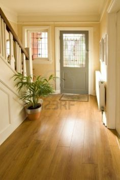 Small bright foyer featuring a hardwood flooring and a plant on the side for a refreshing look. 1920s House, House Design, Hallway Decorating, House, New Homes, House Interior, Flooring, Hall Flooring, Vinyl Flooring