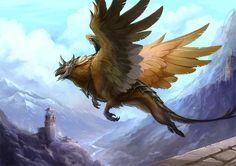 Gryphon flying over mountains.