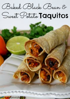Feed four under $10 with these delicious and healthy baked black bean and sweet potato taquitos