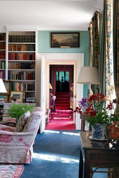 Living Room Bookcase  / Country House in Britain   Cool Chic Style Fashion