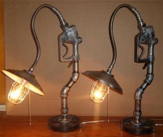 Industrial Steampunk Machine Age Table Lamps Pair Designer Lights Automobilia
