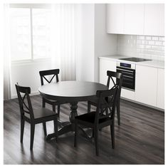 Avalon Black Round Extension Dining Table Dining Room - Black round dining room table with leaf