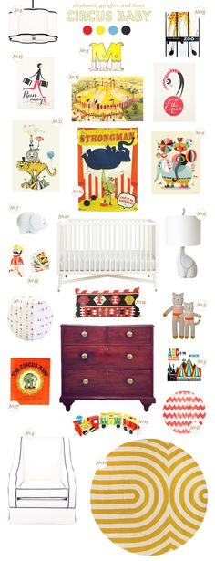 Future file: circus baby nursery inspiration via Lay Baby Lay featuring Colette the Cat Circus Room, Circus Baby, Circus Circus, Circus Theme, Baby Decor, Kids Decor, Nursery Themes, Nursery Decor, Nursery Ideas
