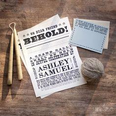 Broadside Poster Invites, Magpie Paperworks