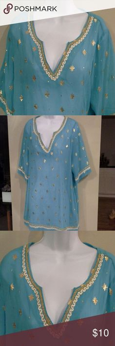Beautiful embellished sheer blouse Sheer front & back.  2 side pockets.  In excellent condition , 100% polyester .  Its more aquamarine color Tops Blouses - women's blouses with collars, white and navy blouse, women's white ruffle blouse *sponsored https://www.pinterest.com/blouses_blouse/ https://www.pinterest.com/explore/blouses/ https://www.pinterest.com/blouses_blouse/red-blouse/ http://www.tbdress.com/Cheap-Blouses-100594/