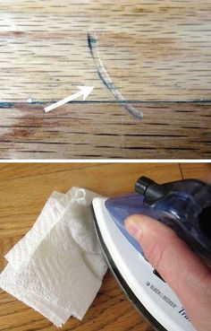 Use an iron and a wet cloth or paper towel to fix the dents in wood.