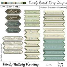 - Pack of 26 Labels for the Utterly Flutterly Wedding kit. Personal & Scrap for Hire use only. As this is a digital dow. Wedding Labels, Fabric Paper, Paper Texture, Be My Valentine, Card Stock, Mosaic, Goodies, Scrapbook, Crafty