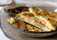 Crispy Korean Pancake Recipe, called Pajun (Pajeon) loaded with veggies and…